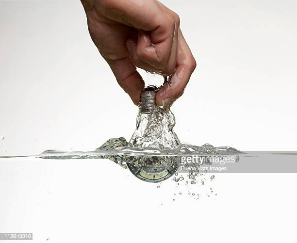 Man's hand with bulb in water.