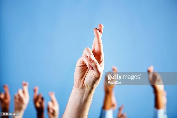 Uomo mano con le dita incrociate, superstitiously più in sfondo blu
