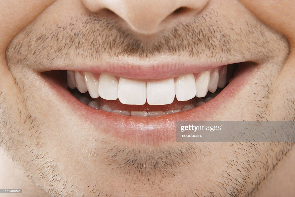 Mans Mouth Smiling : Stock Photo