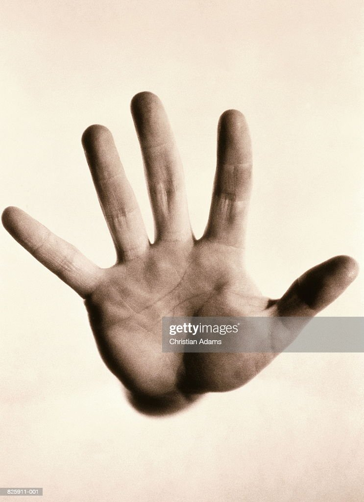 Man's open hand, close-up (B&W) : Stock Photo