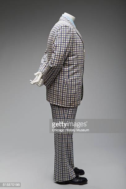 Man's plaid polyster twopiece suit designed by Lawrence Pucci and shown with tie by Blanford and prop shirt 1980 Shown as part of the Chicago History...
