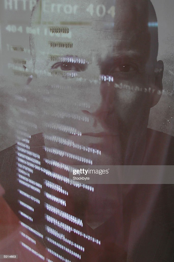 Man's portrait with computer code : Stock Photo