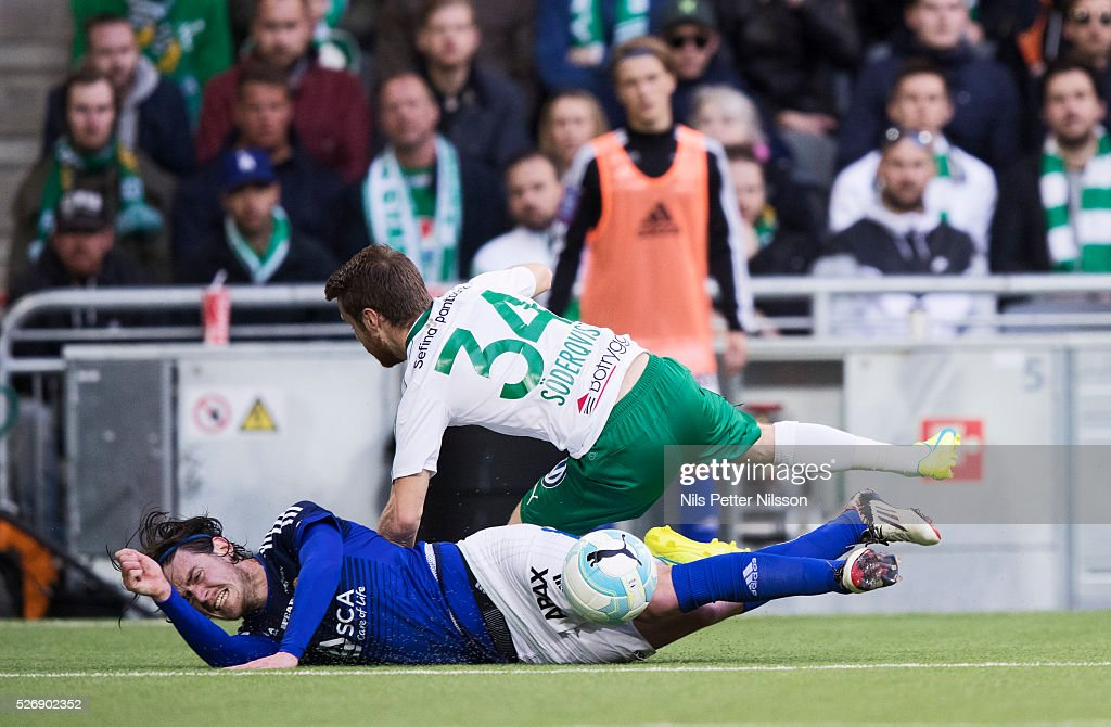 Mans Soderqvist of Hammarby IF and Robin Tranberg of GIF Sundsvall competes for the ball during the Allsvenskan match between Hammarby IF and GIF Sundsvall at Tele2 Arena on May 1, 2016 in Stockholm, Sweden.