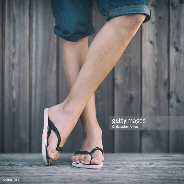 Man's Summer Legs with Flip Flops