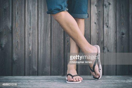 Man's Summer Legs with Flip Flops