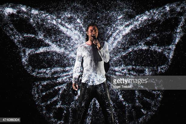 Mans Zelmerloew of Sweden performs on stage during rehearsals for the second Semi Final of the Eurovision Song Contest 2015 on May 20 2015 in Vienna...