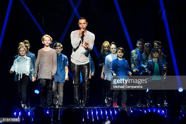 Mans Zelmerloew performs during the final rehearsal of Melodifestivalen 2016 Final at Friends Arena on March 12 2016 in Stockholm Sweden