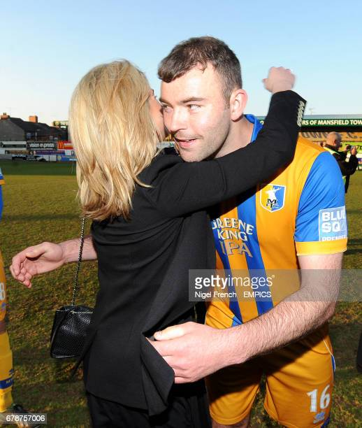 Mansfield Town's Matt Rhead greets Chairman Carolyn Radford after the final whistle