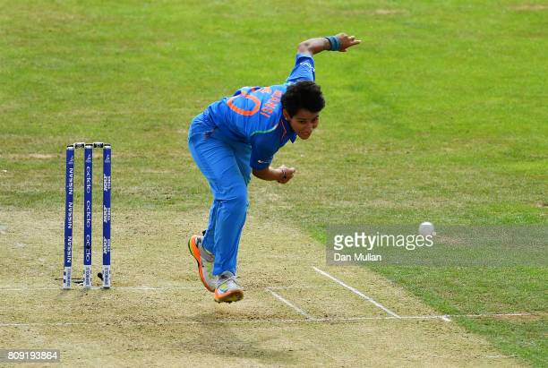 Mansi Joshi of India bowls during the ICC Women's World Cup 2017 match between Sri Lanka and India at The 3aaa County Ground on July 5 2017 in Derby...