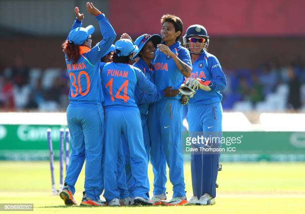 Mansi Joshi of India celebrates taking the final wicket of the match during the ICC Women's World Cup match between India and Pakistan at The 3aaa...