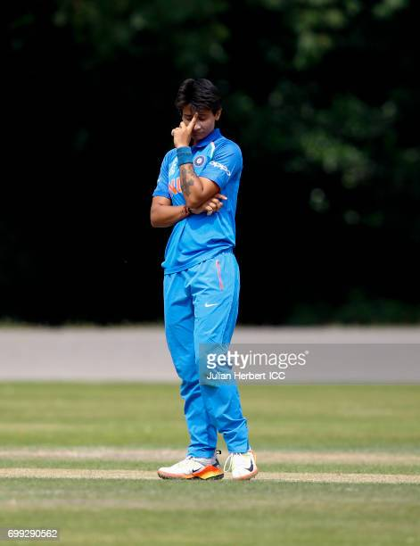 Mansi Joshi of India looks displeased as runs are scored from her bowling during The ICC Women's World Cup warm up match between India and Sri Lanka...