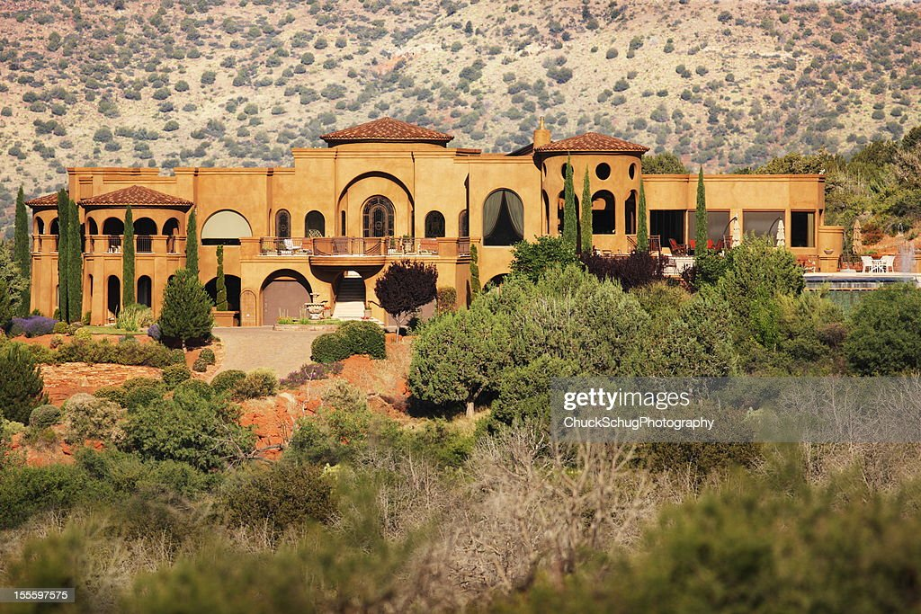 Mansion desert southwest villa architecture stock photo for Southwest architecture
