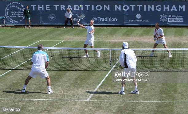 Mansour Bahrami and Ille Nastase playing Peter McNamara and Michael Pernfors during day one of Nottingham Masters 2009