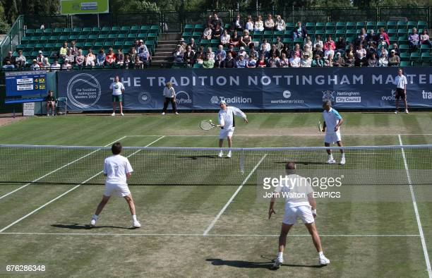 Mansour Bahrami and Ille Nastase playing Peter McNamara and Michael Pernfors match during day one of Nottingham Masters 2009