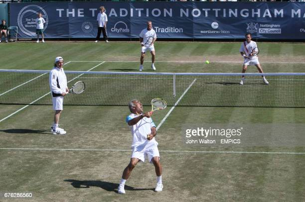 Mansour Bahrami and Ille Nastase playing Peter McNamara and Michael Pernfors a doubles match during day one of Nottingham Masters 2009