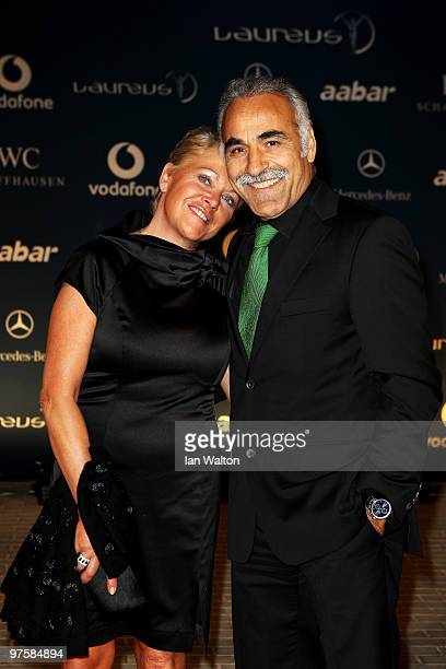 Mansour Bahrami and wife Frederique attends the Laureus Welcome Party part of the Laureus Sports Awards 2010 at the Fairmount Hotel on March 92010 in...