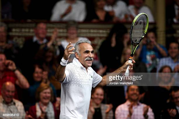 Mansour Bahrami celebrates a point during the Mens Doubles match between Mansour Bahrami and Andrew Castle against Pat Cash and Peter McNamara on day...