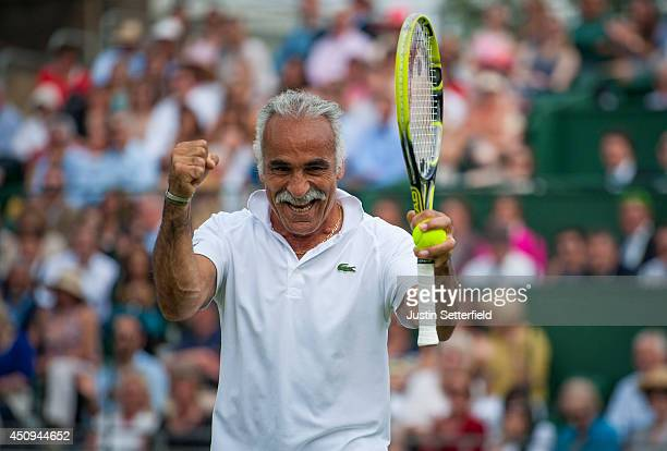 Mansour Bahrami celebrates winning a point during his Men's Doubles exhibition match against Pat Cash and Mikael Pernfors at the BNP Paribas Tennis...