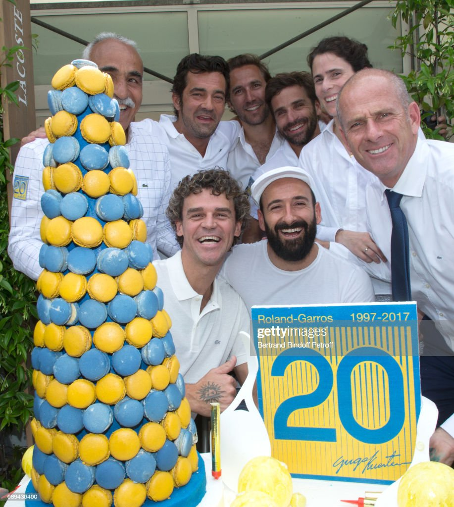 Mansour Bahrami, CEO Lacoste Thierry Guibert, Arnaud Di Pasquale, Arnaud Clement, guest, Gustavo Kuerten, who celebrates the 20th anniversary of his first victory at Roland Garros, Michael Jeremiasz and Director of Roland Garros tournament, Guy Forget attend the 2017 French Tennis Open - Day One at Roland Garros on May 28, 2017 in Paris, France.