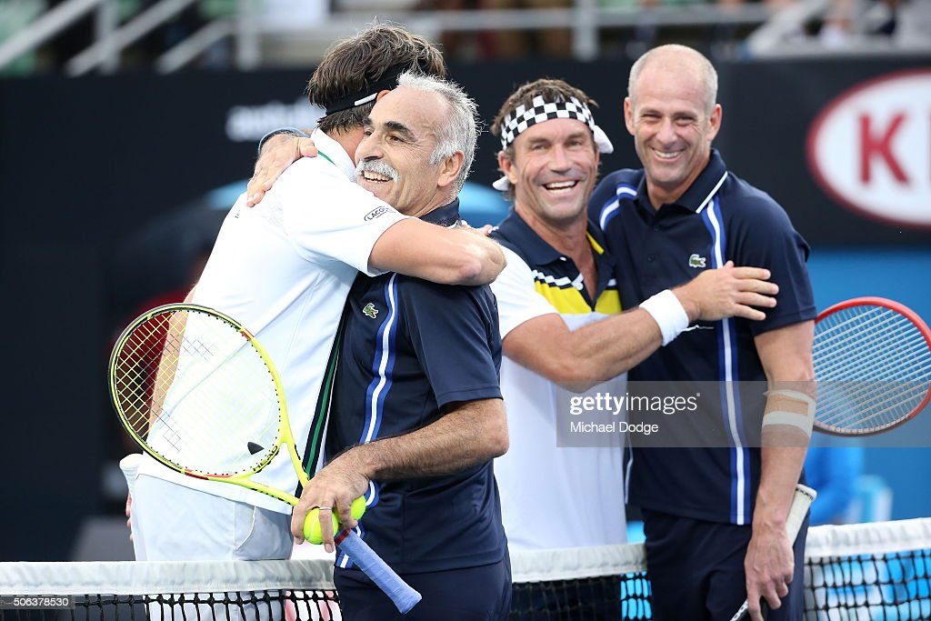 Mansour Bahrami Guy Forget Pat Cash and Goran Ivanisevic congratulate each other after their legends match during day six of the 2016 Australian Open...