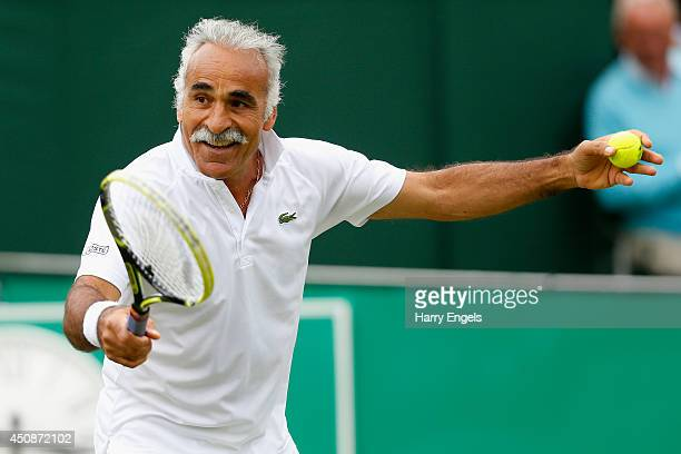 Mansour Bahrami jokes with the crowd during his Men's Doubles exhibition match against Pat Cash and Peter McNamara at the BNP Paribas Tennis Classic...