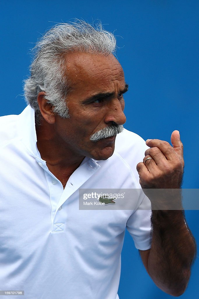 Mansour Bahrami of Iran competes in his legends doubles round one match with Wayne Ferreira of South Africa against Mark Woodforde of Australia and Todd Woodbridge of Australia during day six of the 2013 Australian Open at Melbourne Park on January 19, 2013 in Melbourne, Australia.