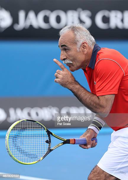 Mansour Bahrami of Iran in action in their legends doubles match during day nine of the 2015 Australian Open at Melbourne Park on January 27 2015 in...