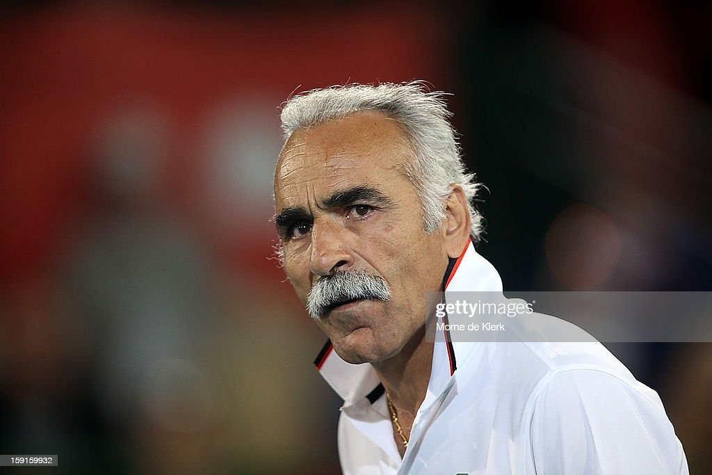 Mansour Bahrami of Iran looks on during the World Tennis Challenge at Memorial Drive on January 9, 2013 in Adelaide, Australia.