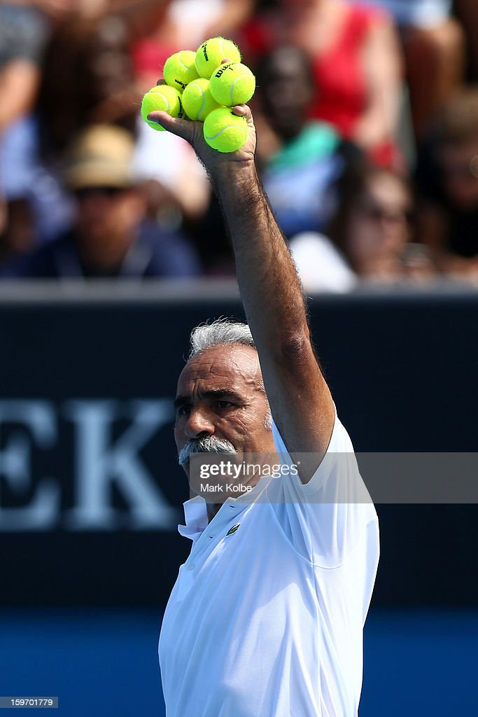 Mansour Bahrami of Iran prepares to serve in his legends doubles round one match with Wayne Ferreira of South Africa against Mark Woodforde of Australia and Todd Woodbridge of Australia during day six of the 2013 Australian Open at Melbourne Park on January 19, 2013 in Melbourne, Australia.