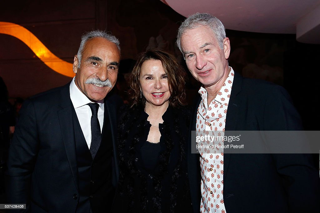 Mansour Bahrami, Patty Smyth and John McEnroe attend the Trophy of the Legends Perrier Party at Pavillon Vendome on June 1, 2016 in Paris, France.