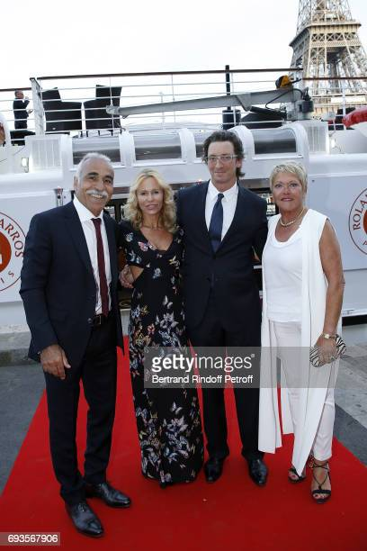 Mansour Bahrami Producer Dawn McDaniel his husband Franck Joffo and Frederique Bahrami attend 'Trophee des Legendes' Dinner at Le Paquebot on June 7...