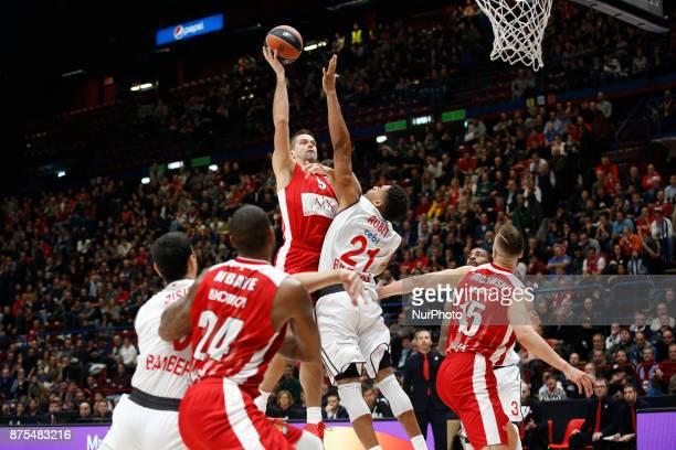 Mantas Kalnietis shoots a layup during a game of Turkish Airlines EuroLeague basketball between AX Armani Exchange Milan vs Brose Bamberg at...