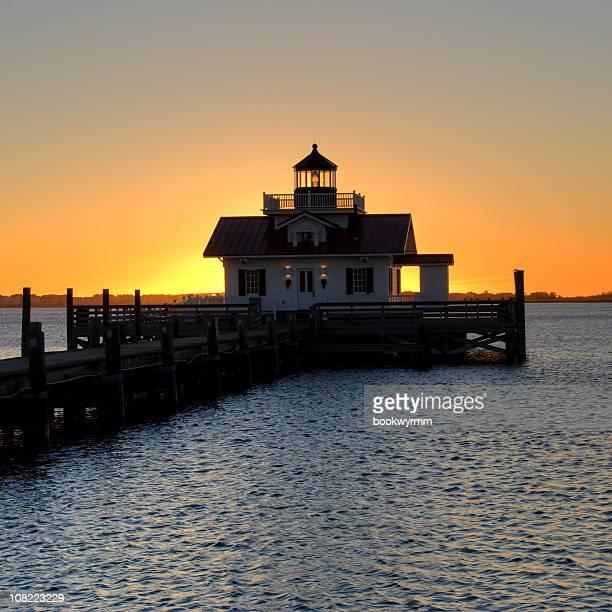 Manteo Lighthouse on Dock at Sunrise