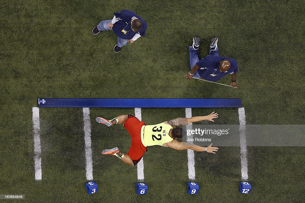 Manti Te'o of Notre Dame participates in the broad jump during the 2013 NFL Combine at Lucas Oil Stadium on February 25 2013 in Indianapolis Indiana