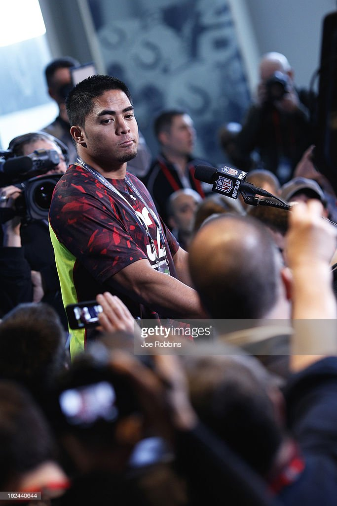 Manti Te'o of Notre Dame speaks to the media during the 2013 NFL Combine at Lucas Oil Stadium on February 23 2013 in Indianapolis Indiana