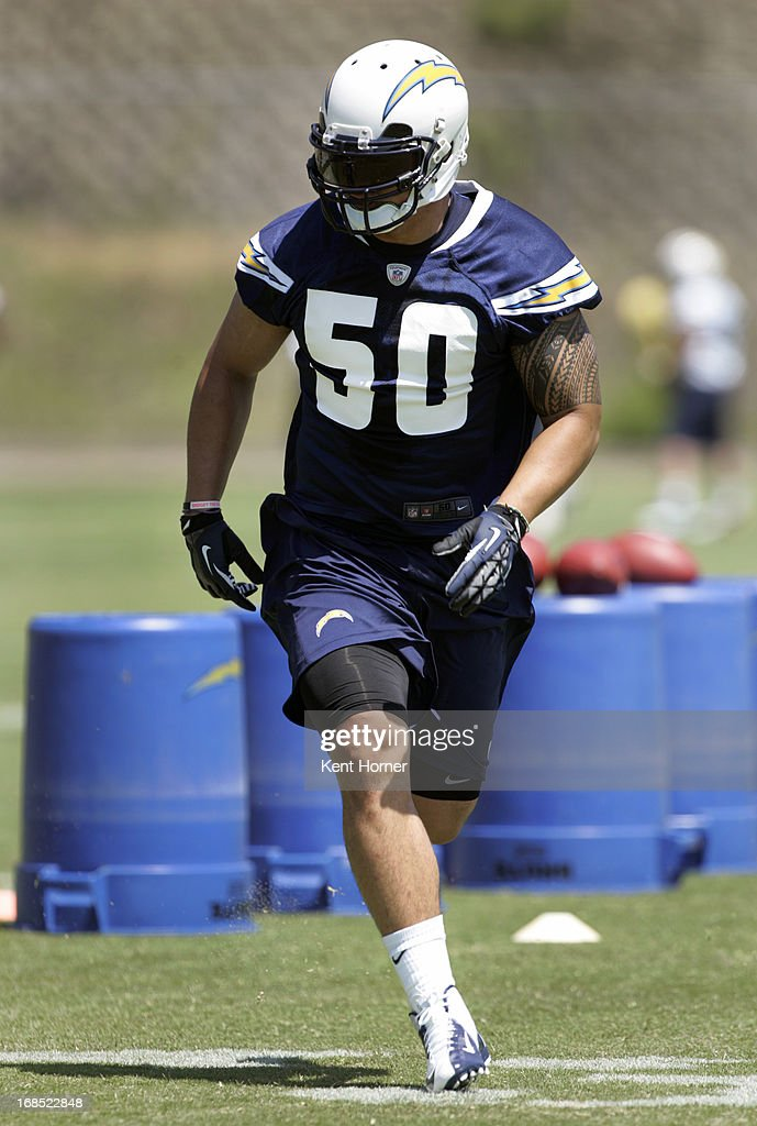 Manti Te'o #50 of the San Diego Chargers runs through drills during Rookie Camp at the team's practice facility on May 10, 2013 in San Diego, California.