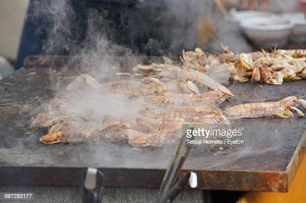 Mantis Shrimp Cooking On Barbecue