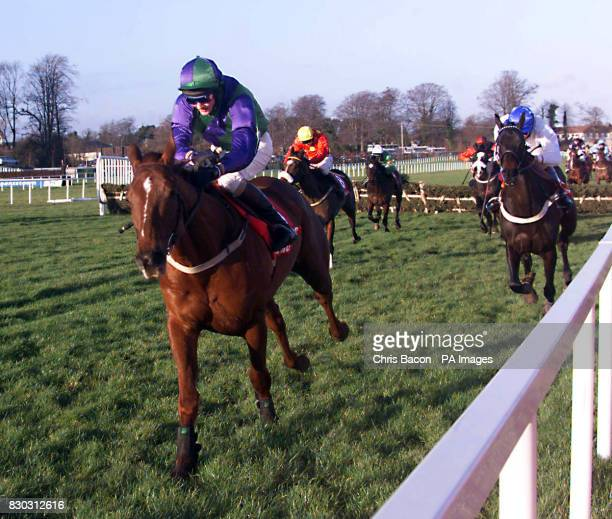 Mantles Prince ridden by Fran Berry racing up to win the Ladbrokes Hurdle at Leopardstown Dublin