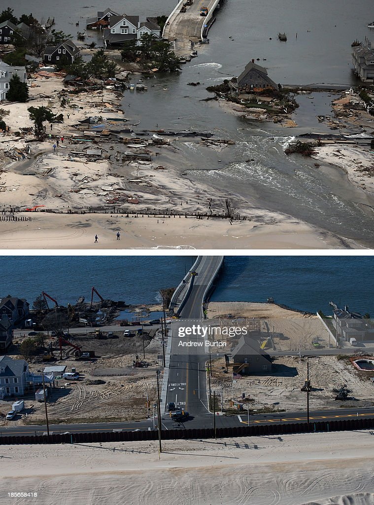 Homes built near a bridge sit destroyed due to Superstorm Sandy in Mantoloking, New Jersey October 31, 2012. (Photo by Mario Tama/Getty Images) MANTOLOKING, NJ - OCTOBER 21: (bottom) Mantoloking, New Jersey is shown in this aerial view October 21, 2013. Hurricane Sandy made landfall on October 29, 2012 near Brigantine, New Jersey and affected 24 states from Florida to Maine and cost the country an estimated $65 billion.