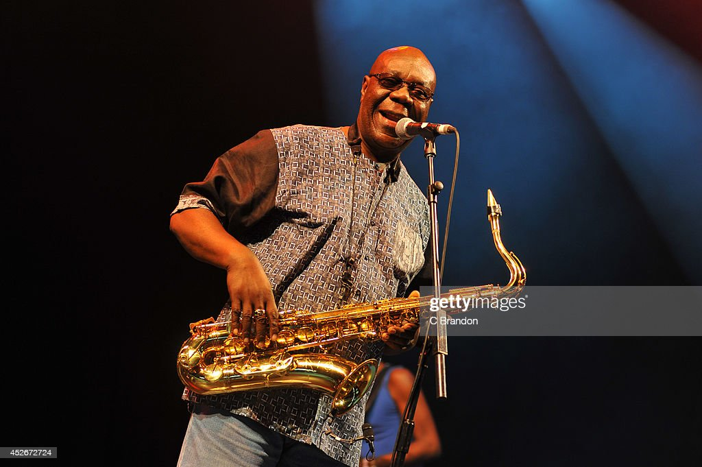 <a gi-track='captionPersonalityLinkClicked' href=/galleries/search?phrase=Manu+Dibango&family=editorial&specificpeople=768914 ng-click='$event.stopPropagation()'>Manu Dibango</a> performs on stage at the Womad Festival at Charlton Park on July 25, 2014 in Wiltshire, United Kingdom.