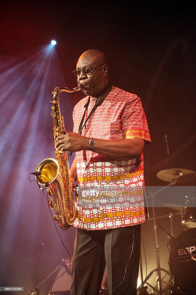 <a gi-track='captionPersonalityLinkClicked' href=/galleries/search?phrase=Manu+Dibango&family=editorial&specificpeople=768914 ng-click='$event.stopPropagation()'>Manu Dibango</a> performs on stage during Celtic Connections Festival at The Old Fruit Market on January 26, 2014 in Glasgow, United Kingdom.
