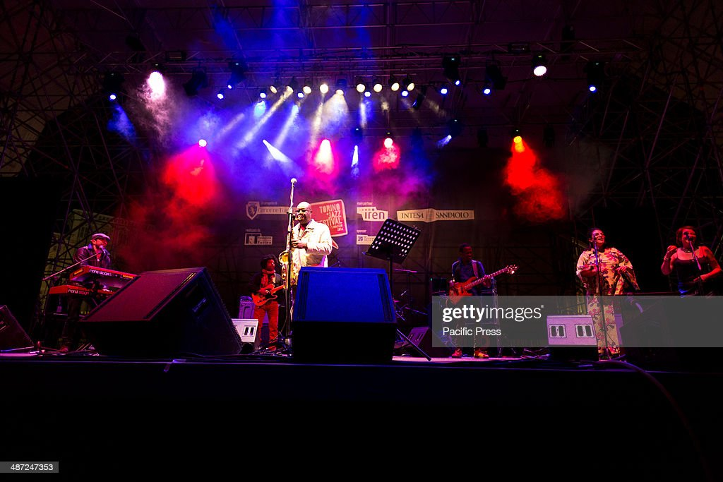 Manu Dibango, 'The King of Africa', saxophonist and marimba player, performs live in Castle Square of Turin during the Jazz Festival 2014.
