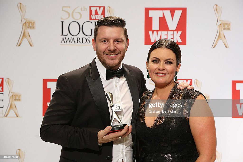 Manu Feildel and Karen Martini pose in the awards room after winning a Logie for Most Popular Reality Program at the 2014 Logie Awards at Crown Palladium on April 27, 2014 in Melbourne, Australia.