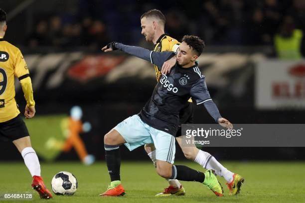 Manu Garcia of NAC Breda Abdelhak Nouri of Jong Ajax Robbie Haemhouts of NAC Bredaduring the Jupiler League match between NAC Breda and Jong Ajax...