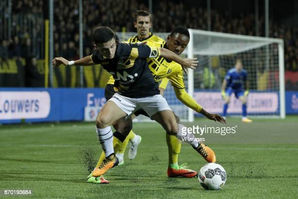 Manu Garcia of NAC Breda Moreno Rutten of VVV Venlo Kelechi Nwakali of VVV Venlo during the Dutch Eredivisie match between VVV Venlo and NAC Breda at...