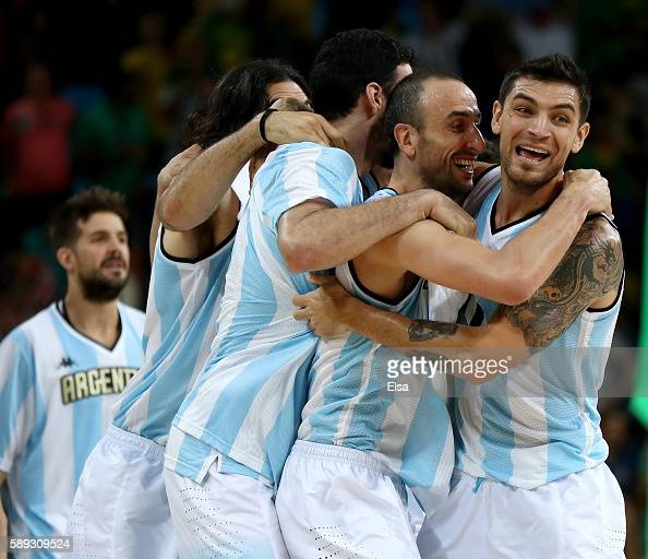 Manu Ginobili and Carlos Delfino of Argentina celebrate the 111107 double overtime win over Brazil during the Men's Preliminary Round Group B match...