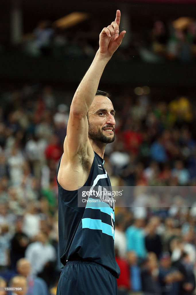 Manu Ginobili #5 of Argentina celebrates Argentina's 82-77 victory against Brazil during the Men's Basketball quaterfinal game on Day 12 of the London 2012 Olympic Games at North Greenwich Arena on August 8, 2012 in London, England.