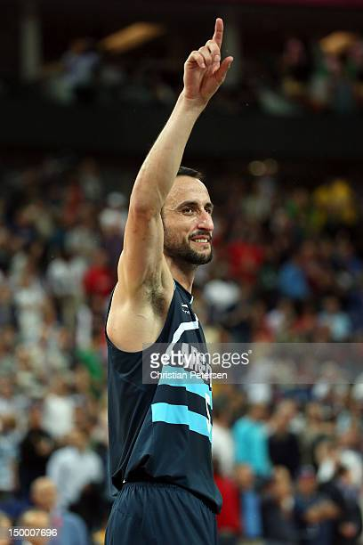 Manu Ginobili of Argentina celebrates Argentina's 8277 victory against Brazil during the Men's Basketball quaterfinal game on Day 12 of the London...