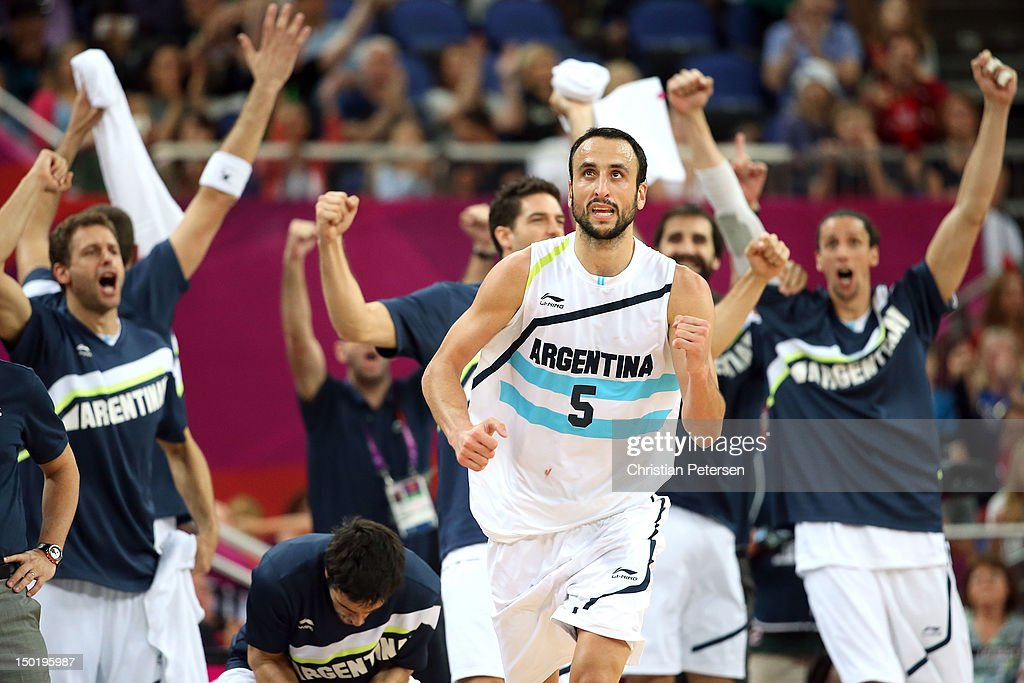 Manu Ginobili #5 of Argentina celebrates making a shot during the Men's Basketball bronze medal game between Russia and Argentina on Day 16 of the London 2012 Olympics Games at North Greenwich Arena on August 12, 2012 in London, England.