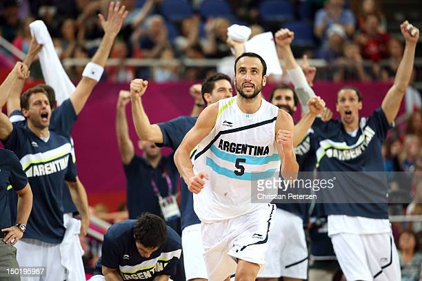 Manu Ginobili of Argentina celebrates making a shot during the Men's Basketball bronze medal game between Russia and Argentina on Day 16 of the...